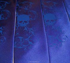 Royal blue skull necktie mens custom neckties printed by RokGear, $24.20