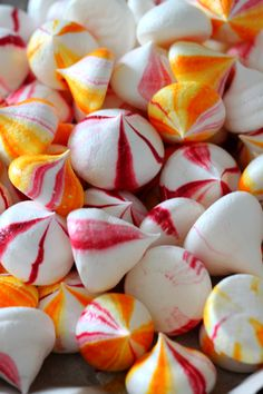 Vegan Mango, Raspberry and Vanilla Meringues - make without coloring and flavor