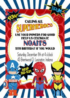 Calling All Superheroes Birthday Party Invitation for Boys, Girls OR BOTH! by BluegrassWhimsy on Etsy, $15.00