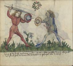 Gladiatoria Group (MS Germ.Quart.16 54v.) Sword and buckler.