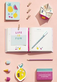 Make your stationery oh so cute with these bright and fun notebooks, pens, fruit dishes and more