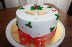 Rich fruit cake covered in fondant.