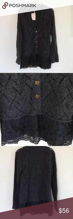 FREE PEOPLE CARDIGAN WITH LACE🌸NWT🌸 Brand new charcoal gray cardigan with black lace detail at hem and special buttons🌸 Free People Sweaters Cardigans