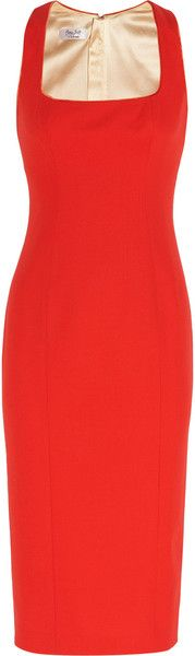 L'WREN SCOTT Red Woolblend Twill Dress