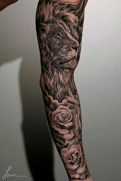 Our Website is the greatest collection of tattoos designs and artists. Find Inspirations for your next Lion Tattoo. Search for more Tattoos. Lion Sleeve, Lion Tattoo Sleeves, Mens Lion Tattoo, Full Sleeve Tattoos, Tattoo Sleeve Designs, Sleeve Tattoo For Guys, Tribal Sleeve, Roses Half Sleeve Tattoo, Lion Tattoos For Men