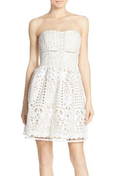 Adelyn Rae Adelyn Rae Strapless Lace Fit & Flare Dress available at #Nordstrom