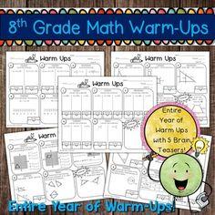 Grade Math Warm-Ups (Entire Year) by Math in Demand Math 8, 7th Grade Math, Math Teacher, Math Multiplication, Teacher Stuff, Year 8 Maths Worksheets, Math Activities, Math Resources, Math Games