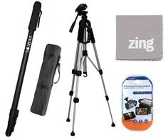 Deluxe 57inch Professional Camera And Camcorder Tripod And 72 Inch Monopod For Canon Vixia HFM30 HFM31 HFR32 HFM40HFM41HFM50 HFM52 HFM301HFM400HFM500 Camcorder  More -- Click on the image for additional details.