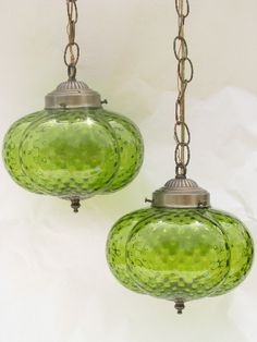 Photo of Retro vintage double light swag lamp, melon shape glass shades, lime green! #1