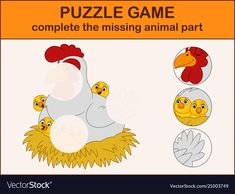 Cute hen cartoon with chicks in the nest vector image on VectorStock Fun Activities For Toddlers, Puzzles For Toddlers, Book Activities, Kindergarten Writing, Kindergarten Worksheets, Dots And Boxes, Word Ladders, Toddler Worksheets, Farm Theme
