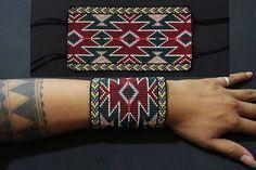 Aztec Inca Native American Beaded Bracelet Wide Geometric