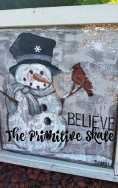 I have been doing a lot of Painting for some Fall & Winter Shows. most of which are done now, and also to add to the booth tha. Christmas Wood Crafts, Christmas Canvas, Primitive Christmas, Christmas Snowman, Holiday Crafts, Window Screen Crafts, Window Screens, Window Art, Wood Snowman