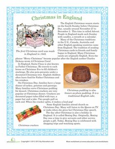 Worksheets: Christmas in England