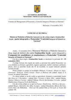 """Ministerul Mediului şi Pădurilor lansează cea de-a doua etapă a Seminariilor locale - parte integrantă a  Proiectului """"Controlul Integrat al Poluării cu Nutrienţi""""Slideshare"""