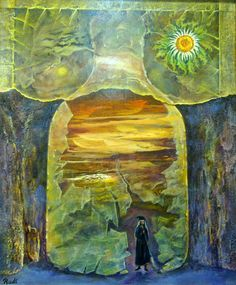 Mundo Mágico, óleo surrealista original de Rudi