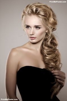 Model With Long Braided Hair Waves Curls Braid Hairstyle Salon Updo Fashion Shiny Wom Poster