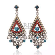 2013 Antique vintage style alloy triangle many small round pendant big drop earrings for women