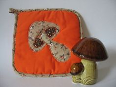 Vintage mushroom melange pot holder and shaker 70s kitchen Japan orange applique. $5.00, via Etsy.