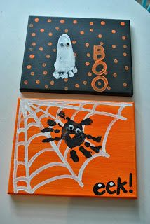 Adorable Halloween crafts for kids using handprints and footprints.