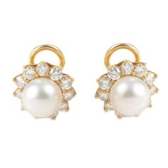 Mikimoto Pearl Diamond Yellow Gold Clip-On Earrings | From a unique collection of vintage clip-on earrings at https://www.1stdibs.com/jewelry/earrings/clip-on-earrings/