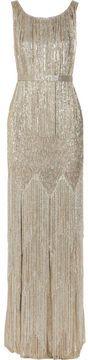 Oscar de la Renta Beaded metallic silk-blend gown on shopstyle.com