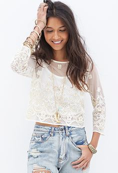 Embroidered Metallic Top | FOREVER21 - 2000119338