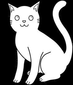 Black and White Cat Lineart Free Clip Art Cat coloring page Cat outline Animal coloring pages