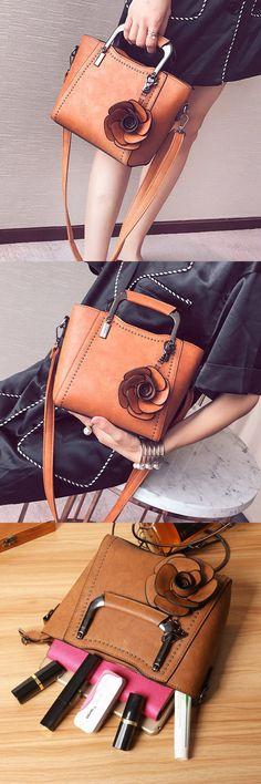 Bagail Women PU Leather Retro Rose Handbag Mini Crossbody Bag