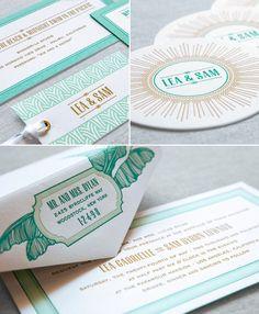 Dauphine Press Presidio Letterpress Wedding Invitation featured in Martha Stewart Weddings