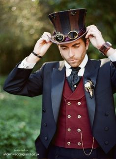 Are you a Victorian gear head by chance and looking to plan the ultimate Steampunk wedding? Regal Steam punk wedding theme and ideas. Moda Steampunk, Style Steampunk, Victorian Steampunk, Steampunk Design, Steampunk Top Hat, Victorian Men, Victorian Dresses, Steampunk Cosplay, Steampunk Outfits