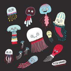 Elise Gravel illustration • jellyfish • sea • art • painting • gouache • dark background • fun • cute • art • méduse