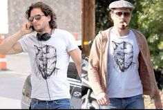House Stark displaying house pride. Kit Harington  Robert Downey Jr. wearing matching dire wolf/Iron Man t-shirts.