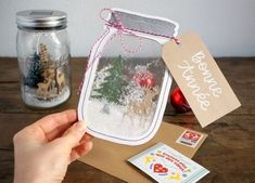 """""""Shaker box"""" card - jar with winter decor , Christmas Tag, Diy Christmas Gifts, Christmas Projects, Handmade Christmas, Navidad Diy, Shaker Cards, Diy Cards, Holiday Crafts, Cardmaking"""