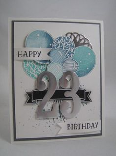 Number of Years & Large Number Framelits- Stampin' Up by Miechelle Weber… 18th Birthday Cards, Bday Cards, Handmade Birthday Cards, 21st Birthday, Tarjetas Diy, Stamping Up Cards, Kids Cards, Creative Cards, Anniversary Cards