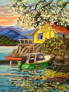 Past Work — Greta Grunow Guzek Canadian Painters, Canadian Art, Landscape Art, Landscape Paintings, Landscapes, Oil Painting App, Pintura Country, Painting Inspiration, Folk Art