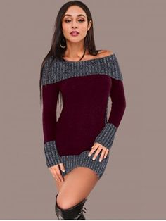 473ac8e1e33 40 Casual Trendy Women Outfit Cardigan. Boat NeckColor BlockingColour  BlockDress ColourDress RedKnit ...