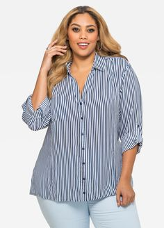 Sail To Sable Women's Stripe Blouse - Navy - Xl Kurta Designs, Blouse Designs, Curvy Girl Fashion, Plus Size Fashion, Womens Fashion, Manga Shop, Chubby, Models, Plus Size Dresses