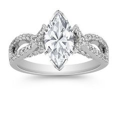 Infinity Cathedral Diamond Engagement Ring with Side Milgrain Detailing at Shane Co. Available in your choice of diamond, ruby, and sapphire