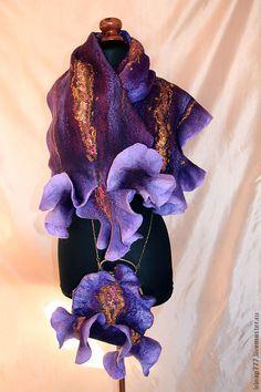 """Купить Комплект """"Ирис"""" - фиолетовый, ирисы, ирис, цветок, сумка-цветок, валяная сумка"""
