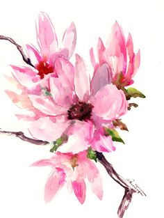 Magnolia abstract Pink white, floral painting, original watercolor painting, white pink magnolia flowers. brush painting Asian, magnolias by ORIGINALONLY on Etsy