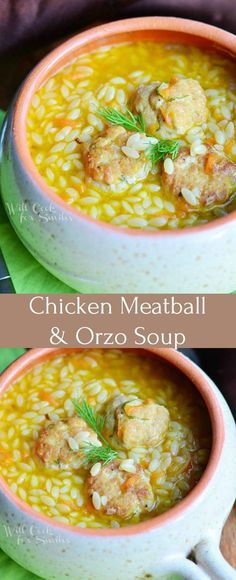 Chicken Meatball & O Chicken Meatball & Orzo Hearty Soup. Delicious twist on a classic Chicken Noodle recipe but this particular one has much more flavor and it's much more fun! It's a delicious soup made with chicken meatballs veggies and orzo pasta. Healthy Soup Recipes, Crockpot Recipes, Cooking Recipes, Recipes With Orzo Pasta, Recipe Pasta, Healthy Hearty Soup, Cooking Bacon, Vegetarian Soup, Simple Recipes