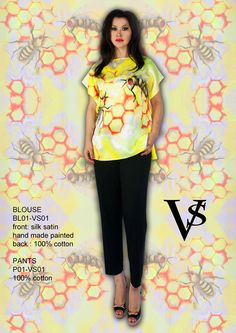 """Blouse BL01-VS01 - Composition 100% Silk Saint & Cotton - Hand Painted - Sizes Italian (from 38 to 62 tailored) - Limited Edition Series (maximum 100 Pieces for model) - """"Violetta Smik"""" is produced by Sephirot Productions of Milan under the brand """"4SuckerS"""" - 100% MADE IN ITALY - 100% NATURAL FIBRES AND ECOLOGICAL - 100% HAND PAINTED - 100% HAND EMBROIDERED - Try it to believe! Authorized seller: Showroom SD Multibrand Milano street Visconti di Modrone 30. www.violettasmik.com"""