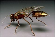 """ianbrooks: """" Metal Insect Sculptures by Elizabeth Goluch Elizabeth's lifelike insect and spider sculptures incorporate metal, gold, silver, enamel, and a little slice of steampunk. Insect Crafts, Insect Art, Animal Sculptures, Sculpture Art, Metal Sculptures, Abstract Sculpture, Bronze Sculpture, Steampunk Mechanic, Steampunk Kunst"""