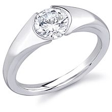 Diamond Ideals: This stunning sleek new design is perfect for the modern bride. The center stone (not included) is set low and the matching band (sold separately) fits flush against the setting.