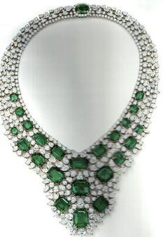 Harry Winston emerald and diamond necklace