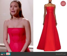 Santana's red strapless lace gown on Glee.  Outfit Details: http://wornontv.net/45383/ #Glee