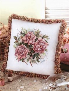 """""""Pillows from Paula's Garden: Book 80"""" a cross stitch pattern by Paula Vaughan. ***Pictured is: Dusty Pink Roses*** Saved from arts2222.blogspot..."""