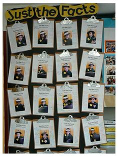 Mystery Detective Themed Classroom - Ideas & Printable Classroom Decorations JUST THE FACTS: This was another favorite. I took a picture of each friend wearing a detective hat and a trenchcoat with a badge. The printed page read, Classroom Displays, Classroom Themes, Classroom Organization, Classroom Teacher, Organizing Life, Future Classroom, Beginning Of The School Year, First Day Of School, Sunday School