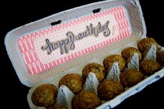 Reuse empty egg cartons. Put in mini muffins... super cute housewarming gift or a gift for a new neighbor.