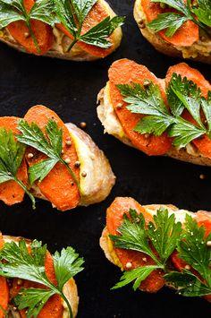 Curried Carrot and Lemony Hummus Crostini